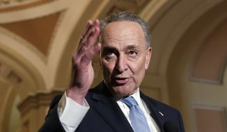 """""""We want to do two things: protect Dreamers and get 60 votes,"""" said Senate Minority Leader Charles E. Schumer, New York Democrat. """"It's not an easy needle to thread. But we're making good headway."""" (Associated Press)"""