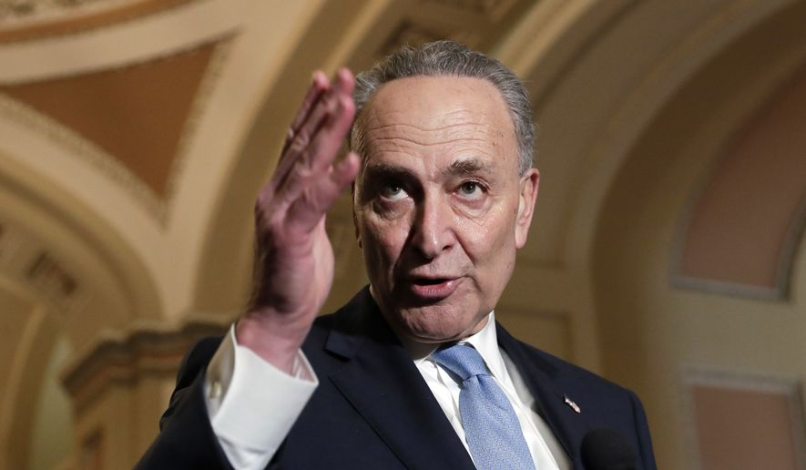 """We want to do two things: protect Dreamers and get 60 votes,"" said Senate Minority Leader Charles E. Schumer, New York Democrat. ""It's not an easy needle to thread. But we're making good headway."" (Associated Press)"