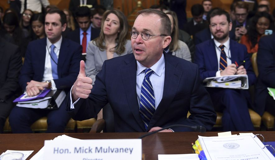 Budget Director Mick Mulvaney testifies before the Senate Budget Committee on Capitol Hill in Washington, Tuesday, Feb. 13, 2018, on President Donald Trump's fiscal year 2019 budget proposal. (AP Photo/Susan Walsh)