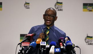 Secretary General of the African National Congress, (ANC) Ace Magashule, makes a statement at a briefing at the ANC headquarters in downtoan Johannesburg, Tuesday, Feb. 13, 2018. Magashule said the scandal-tainted President Jacob Zuma must leave office. (AP Photo/Themba Hadebe)