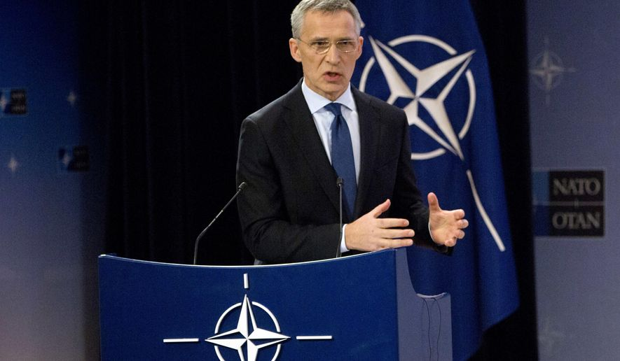 NATO Secretary General Jens Stoltenberg speaks during a media conference at NATO headquarters in Brussels on Tuesday, Feb. 13, 2018. NATO defense ministers begin a two-day meeting Wednesday to focus on military spending, cooperation with the European Union, and assistance to the Iraqi army. (AP Photo/Virginia Mayo)