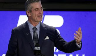 Indianapolis Colts head coach Frank Reich takes questions after he was introduced at the team's new had football coach during a press conference in Indianapolis, Tuesday, Feb. 13, 2018. (AP Photo/Michael Conroy)
