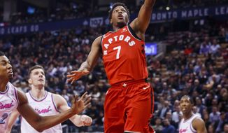 Toronto Raptors' guard Kyle Lowry goes to the basket against the Miami Heat during the first half of an NBA basketball game, Tuesday, Feb. 13, 2018, in Toronto. (Mark Blinch/The Canadian Press via AP)