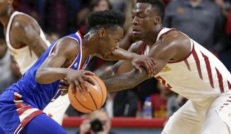 Kansas' Marcus Garrett, left, tries to get around Iowa State's Cameron Lard (2) during the first half of an NCAA college basketball game in Ames, Iowa, Tuesday, Feb. 13, 2018. (AP Photo/Nati Harnik)