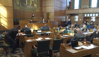 Oregon Representatives debate on the House floor at the Capitol in Salem, Ore., Tuesday, Feb. 13, 2018. Oregon's Legislature is considering taking a step toward enshrining the right to health care in its state Constitution, which would be unprecedented in the United States. (AP Photo.Andrew Selsky)
