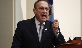 Maine Gov. Paul LePage delivers the State of the State address to the Legislature at the State House in Augusta on Feb. 13, 2018. (Associated Press) **FILE**