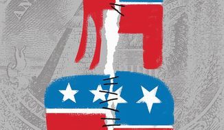 Illustration on the downsides of bipartisanship by Linas Garsys/the Washington Times