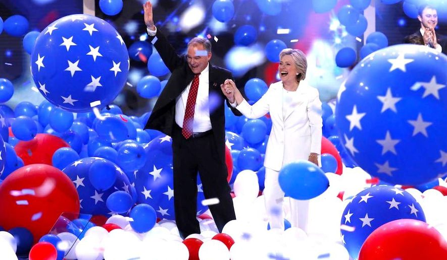 What once was: Democratic presidential nominee Hillary Clinton with running mate Sen. Tim Kaine at the Democratic National Convention. (Associated Press)