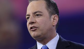 In this photo taken March 4, 2016, then-Republican National Committee (RNC) Chairman Reince Priebus speaks in National Harbor, Md. (AP Photo/Carolyn Kaster) ** FILE **