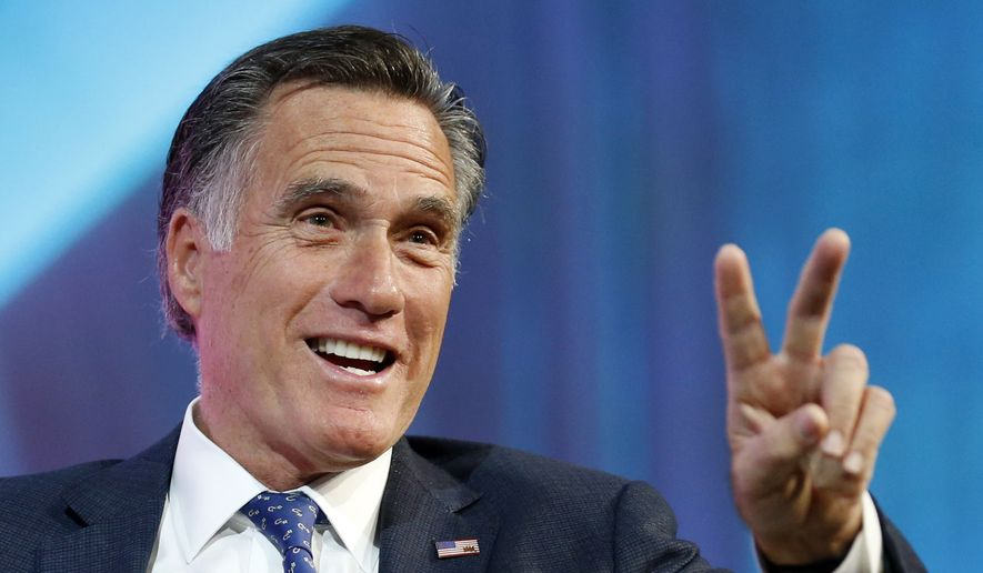 Former Republican presidential candidate Mitt Romney speaks about the tech sector during an industry conference dubbed Silicon Slopes, the nickname for Utah's burgeoning cluster of tech companies Friday, Jan. 19, 2018, in Salt Lake City. Those close to the 70-year-old say he's interested in running for the Utah Senate seat being vacated by Republican Orrin Hatch and expect an announcement soon, though Romney has demurred so far. (AP Photo/Rick Bowmer)