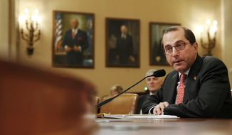 Health and Human Services Secretary Alex Azar speaks to the House Ways and Means Committee about the FY19 budget, Wednesday, Feb. 14, 2018, on Capitol Hill in Washington. (AP Photo/Jacquelyn Martin)