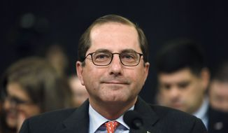 Health and Human Services Secretary Alex Azar attends a House Ways and Means Committee hearing on the FY19 budget, Wednesday, Feb. 14, 2018, on Capitol Hill in Washington. (AP Photo/Jacquelyn Martin) ** FILE **