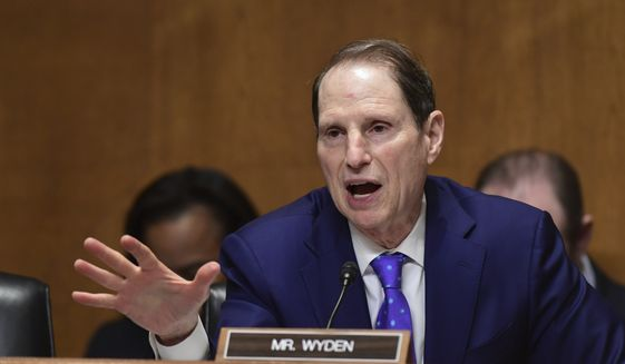 Senate Finance Committee ranking member Sen. Ron Wyden, D-Ore., questions Treasury Secretary Steven Mnuchin during testimony before the committee on Capitol Hill in Washington, Wednesday, Feb. 14, 2018, on President Donald Trump's fiscal year 2019 budget proposal. (AP Photo/Susan Walsh)