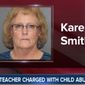 Karen Smith, a physical education teacher from Colorado, has been charged with child abuse and third-degree assault for allegedly grabbing a student who refused to stand for the Pledge of Allegiance. (Image: ABC-7 Denver screenshot)