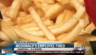 A McDonald's restaurant employee in Normal, Illinois, was fired this week after cursing at a Illinois State Police officer, the franchise owner said Tuesday. (WYZZ)