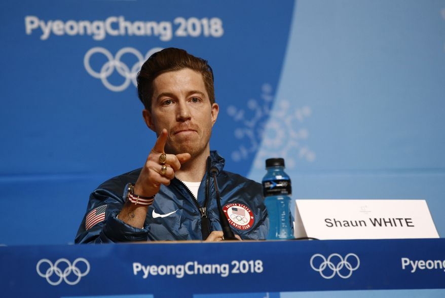Men's halfpipe gold medalist Shaun White, of the United States, speaks at a news conference at the 2018 Winter Olympics in Pyeongchang, South Korea, Wednesday, Feb. 14, 2018. (AP Photo/Patrick Semansky) **FILE**