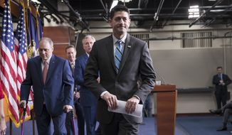 Speaker of the House Paul Ryan, R-Wis., joined from left by House Majority Whip Steve Scalise, R-La., Rep. Rodney Davis, R-Ill., and House Majority Leader Kevin McCarthy, R-Calif., leaves a news conference at the Capitol in Washington, Wednesday, Feb. 14, 2018. (Associated Press)