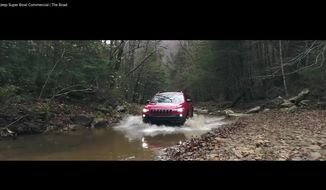 """This image made video obtained from the Jeep brand YouTube channel of Fiat Chrysler Automobiles shows part of its commercial video aired during the Super Bowl on Sunday, Feb. 4, 2018. The head of one of the nation's largest fish conservation groups says Fiat Chrysler Super Bowl ads """"glorified"""" the destruction of aquatic habitat in an apparent attempt to appeal to off-road thrill seekers. (Fiat Chrysler Automobiles via AP)"""