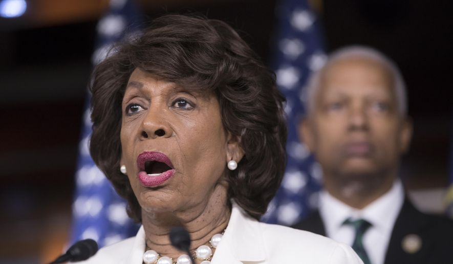 Rep. Maxine Waters, D-Calif., ranking member on the House Financial Services Committee, speaks during a news conference on Capitol Hill in Washington, July 14, 2017. (AP Photo/J. Scott Applewhite)