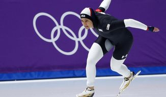 Brittany Bowe of the U.S. competes during the women's 1,000 meters speedskating race at the Gangneung Oval at the 2018 Winter Olympics in Gangneung, South Korea, Wednesday, Feb. 14, 2018. (AP Photo/John Locher)