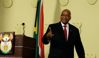 South African President Jacob Zuma addresses the nation and press at the government's Union Buildings in Pretoria, South Africa, Wednesday, Feb. 14, 2018. South Africa's President Jacob Zuma says he will resign 'with immediate effect' (AP Photo/Themba Hadebe)