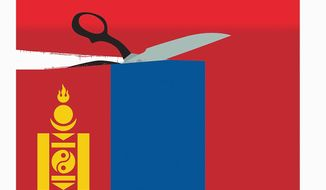 Illustration on Mongolia's desire to separate from China by Linas Garsys/The Washington Times