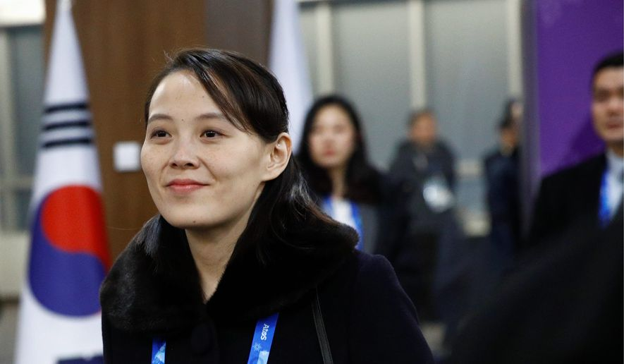 Kim Yo-jong, sister of North Korean leader Kim Jong-un, arrives at the opening ceremony of the 2018 Winter Olympics in Pyeongchang, South Korea, Friday, Feb. 9, 2018. (Associated Press)