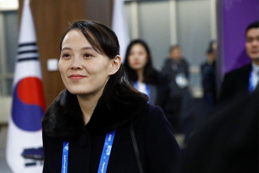 Kim Yo-jong, sister of North Korean leader Kim Jong-un, arrives at the opening ceremony of the 2018 Winter Olympics in Pyeongchang, South Korea, Friday, Feb. 9, 2018. (Associated Press)