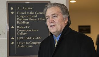 Steve Bannon, President Donald Trump's former chief strategist, arrives for questioning by the House Intelligence Committee as part of its ongoing investigation into meddling in the U.S. elections by Russia, at the Capitol in Washington, Thursday, Feb. 15, 2018. (AP Photo/J. Scott Applewhite)
