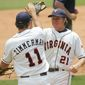 Current Washington Nationals Sean Doolittle (right) and Ryan Zimmerman were teammates with the Virginia Cavaliers in 2005.  (AP Photo/Phil Coale) **FILE**
