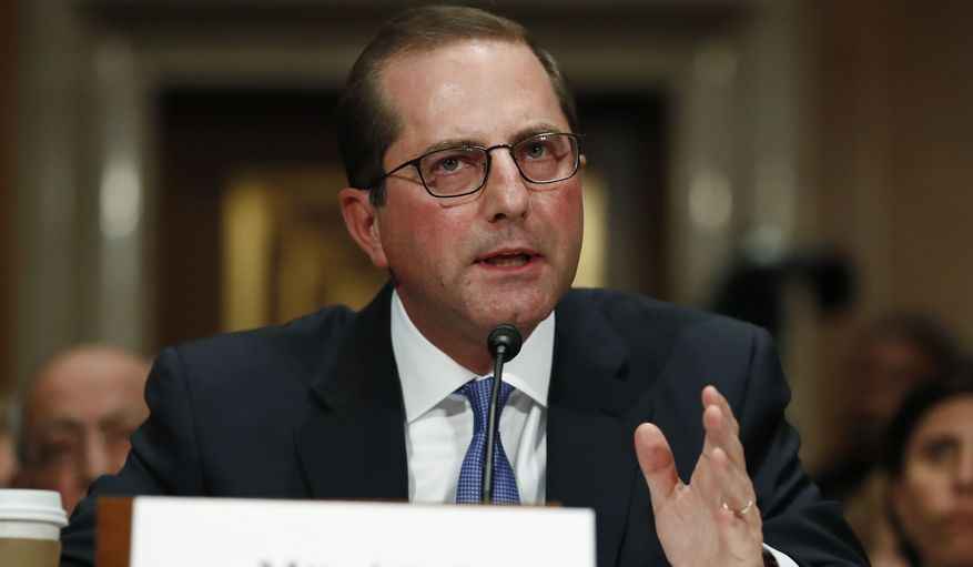 """""""We're in the science business and the evidence-generating business, and so I will have our agency certainly be working in this field as they do across the whole broad spectrum of disease control and prevention,"""" Trump health secretary Alex Azar told the House Energy and Commerce Committee. (Associated Press)"""