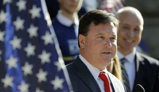 In this Aug. 9, 2017, file photo, U.S. Rep. Todd Rokita, R-Ind., speaks during a news conference outside of the Indiana Statehouse in Indianapolis. (AP Photo/Darron Cummings, File)