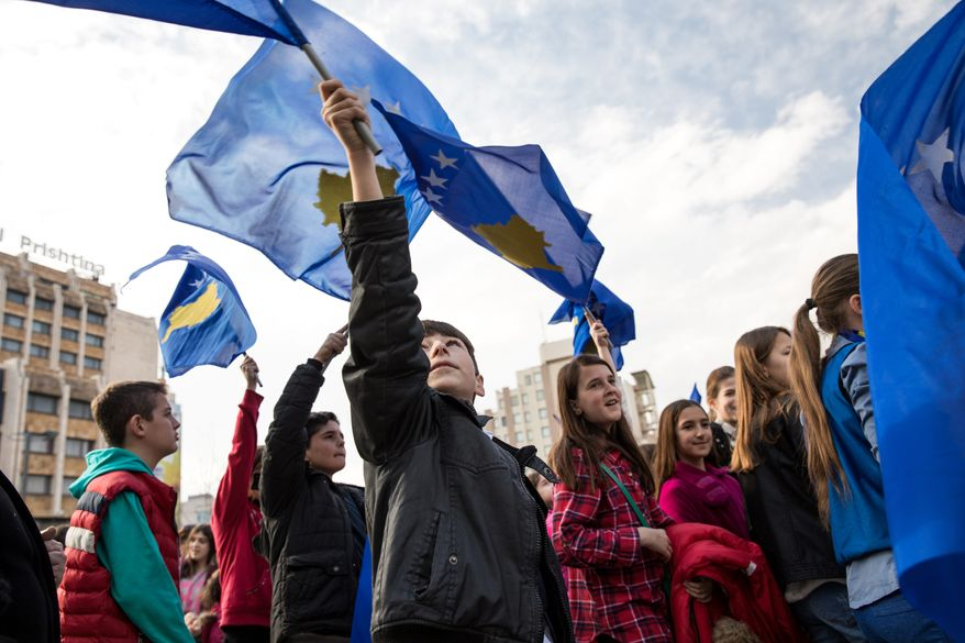 Pristina, Kosovo - February 17, 2017 - School children march in downtown Pristina with Kosovo flags on the ninth anniversary of independence from Serbia. Kosovo is the newest nation in Europe and the second newest in the world after South Sudan. On February 17, 2018, Kosovo will mark its 10-year-anniversary as an independent nation.Valerie Plesch/Special to The Washington Times
