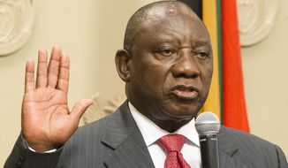 Cyril Ramaphosa was sworn in as South African president on Thursday after the resignation Wednesday of Jacob Zuma. (Associated Press)