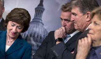 "From left, Sen. Susan Collins, R-Maine, Sen. Jeff Flake, R-Ariz., Sen. Joe Manchin, D-W.Va., and Sen. Jeanne Shaheen, D-N.H., finish a news conference on the bipartisan immigration deal they reached during a news conference at the Capitol in Washington, Thursday, Feb. 15, 2018. The Trump administration is already denouncing their deal in the Senate, saying it will ""create a mass amnesty for over 10 million illegal aliens, including criminals."" "" (AP Photo/J. Scott Applewhite)"
