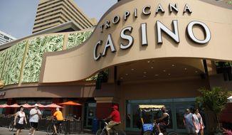 FILE- This June 19, 2017, file photo shows the Tropicana Casino and Resort in Atlantic City, N.J. On Wednesday, Feb. 14, 2018, police say a fire broke out in a Tropicana hotel room that was caused by a man who had set up an illegal methamphetamine lab in the room. (AP Photo/Seth Wenig)