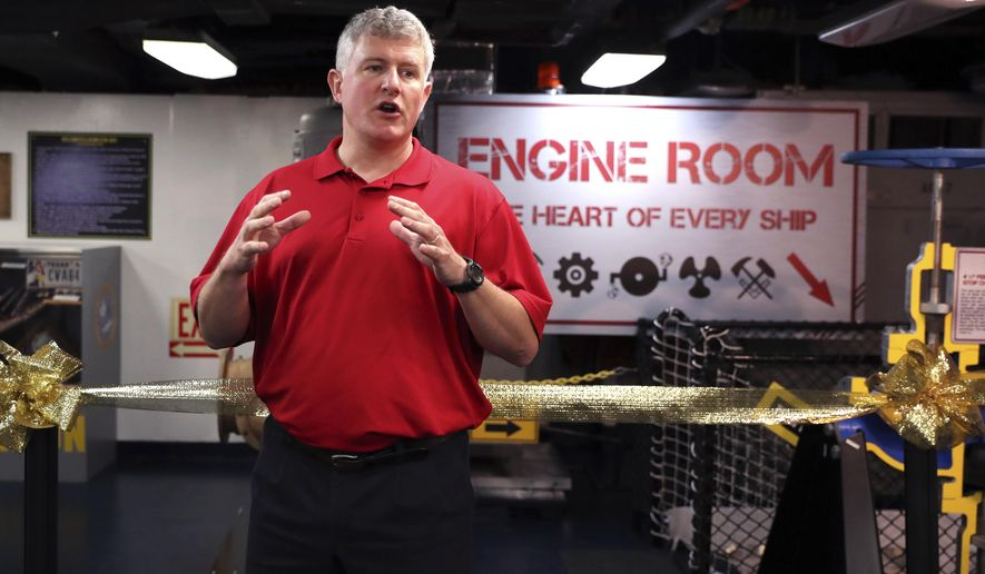 ADVANCE FOR USE MONDAY, FEB. 19 AND THEREAFTER  Steve Banta, executive director of the Lexington Museum on the Bay, speaks about the new Engine Room exhibit aboard the ship on Wednesday, Jan. 31, 2018. In Corpus Christi, Texas The exhibit will allow visitors to the ship to see and touch the critical equipment that kept the ships alive and includes a small theater where they can get a tutorial on engineering. Banta is the new executive director at the Lexington. (Rachel Denny Clow/Corpus Christi Caller-Times via AP)