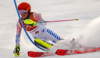 Mikaela Shiffrin, of the United States, skis during the first run of the women's slalom at the 2018 Winter Olympics in Pyeongchang, South Korea, Friday, Feb. 16, 2018. (AP Photo/Jae C. Hong)
