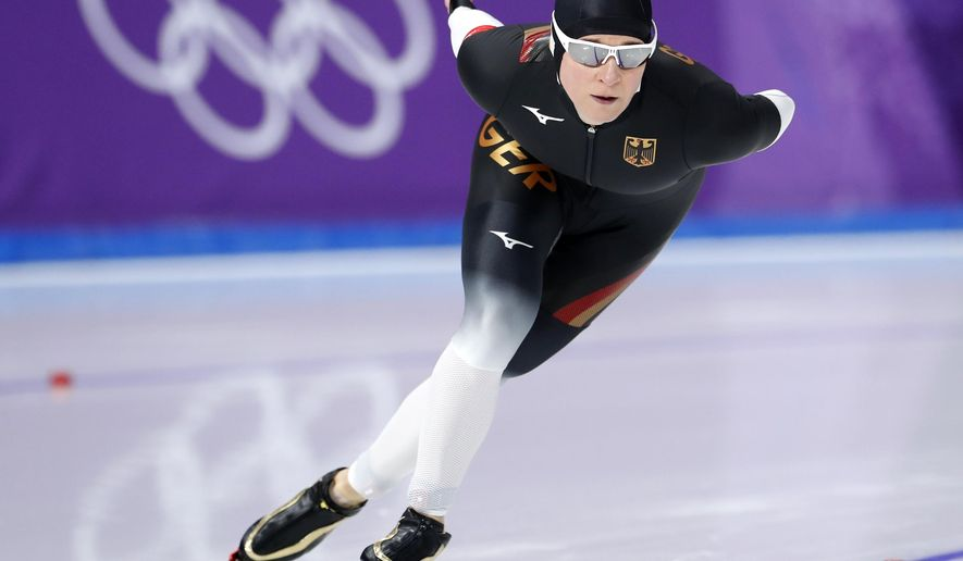 Claudia Pechstein, of Germany competes during the women's 3,000 meters race at the Gangneung Oval at the 2018 Winter Olympics in Gangneung, South Korea, Saturday, Feb. 10, 2018. (AP Photo/Petr David Josek)