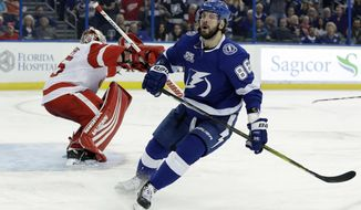 Tampa Bay Lightning right wing Nikita Kucherov (86) reacts after Detroit Red Wings goaltender Jimmy Howard made the save on a breakaway during the second period of an NHL hockey game Thursday, Feb. 15, 2018, in Tampa, Fla. (AP Photo/Chris O'Meara)