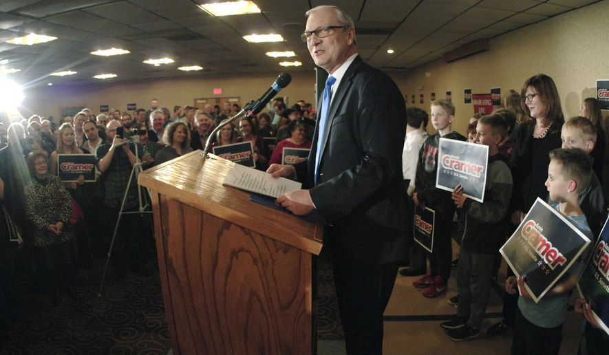 In this file photo, U.S. Rep. Kevin Cramer, R-N.D., center, makes his official announcement to run for a U.S. Senate seat in front of a ballroom full of supporters at a local hotel Friday, Feb. 16, 2018, in Bismarck, N.D. Cramer's wife Kris, back right, looks on. Cramer will campaign against incumbent Sen. Heidi Heitkamp, D-N.D. (Mike McCleary/The Bismarck Tribune via AP) **FILE**