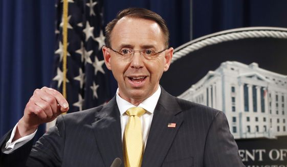 In this Feb. 16, 2018, file photo, Deputy Attorney General Rod Rosenstein, speaks to the media with an announcement that the office of special counsel Robert Mueller says a grand jury has charged 13 Russian nationals and several Russian entities.  **FILE**