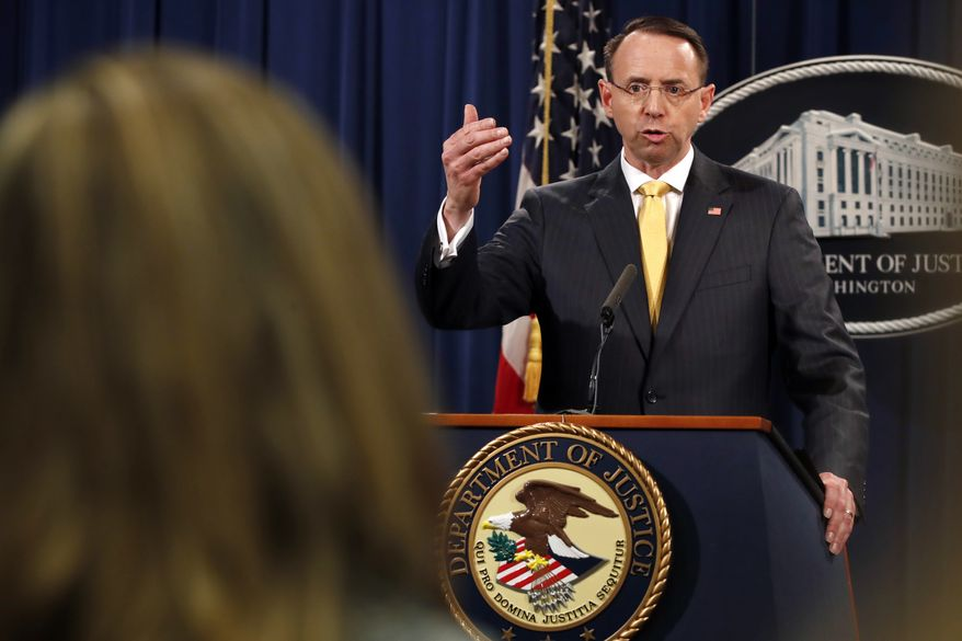 Deputy Attorney General Rod Rosenstein answers a question after announcing that the office of special counsel Robert Mueller announced a grand jury has charged 13 Russian nationals and several Russian entities, Friday, Feb. 16, 2018, in Washington. The defendants with an elaborate plot to interfere in the 2016 U.S. presidential election. (AP Photo/Jacquelyn Martin)