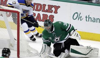 Dallas Stars goalie Ben Bishop (30) secures a loose puck wide of the net as St. Louis Blues left wing Jaden Schwartz (17) skates behind the net during the third period of an NHL hockey game Friday, Feb. 16, 2018, in Dallas. (AP Photo/Tony Gutierrez)