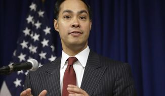 FILE - In this Aug. 31, 2016 file photo, then-U.S. Department of Housing and Urban Development Secretary Julian Castro speaks during a news conference in Providence, R.I. Castro is scheduled to headline the New Hampshire Young Democrats' Granite Slate Awards Friday, Feb. 16, 2018, in Manchester, N.H. Castro said he'll decide by the end of the year whether he makes a run for the 2020 Democratic presidential nomination. (AP Photo/Steven Senne, File)