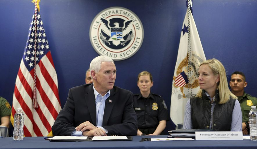 Vice President Mike Pence, left, sits beside Homeland Security Secretary Kirstjen Nielsen during a briefing with federal and local law enforcement on border security at the Hidalgo Port of Entry, Friday, Feb. 16, 2018, in Hidalgo, Texas. (Nathan Lambrecht/The Monitor via AP) ** FILE **