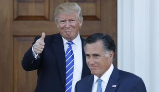 FILE - In this Nov. 19, 2016, file photo, shows President-elect Donald Trump giving the thumbs-up as Mitt Romney leaves Trump National Golf Club Bedminster in Bedminster, N.J.  Mitt Romney and President Donald Trump exchanged harsh criticisms of one another during the 2016 presidential campaign but also have a history of being willing to sit down with each other when mutually beneficial. Romney's announcement that he's running for the U.S. Senate seat in Utah creates the potential for future battles, or even deal-making.   (AP Photo/Carolyn Kaster, File)