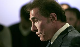 FILE - This March 15, 2016 file photo shows casino mogul Steve Wynn during a news conference in Medford, Mass. A termination agreement between embattled casino mogul Wynn and the company bearing his name shows that he won't receive any compensation and can't be involved in any competing gambling business for two years. The terms of the agreement were released Friday, Feb. 16, 2018, by Wynn Resorts. Wynn resigned as CEO earlier this month amid sexual misconduct allegations. (AP Photo/Charles Krupa, File)