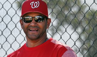 Washington Nationals manager Dave Martinez watches during spring training baseball practice Saturday, Feb. 17, 2018, in West Palm Beach, Fla. (AP Photo/Jeff Roberson)