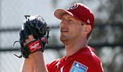 Washington Nationals pitcher Max Scherzer throws a bullpen session during spring training baseball practice Saturday, Feb. 17, 2018, in West Palm Beach, Fla. (AP Photo/Jeff Roberson) **FILE**